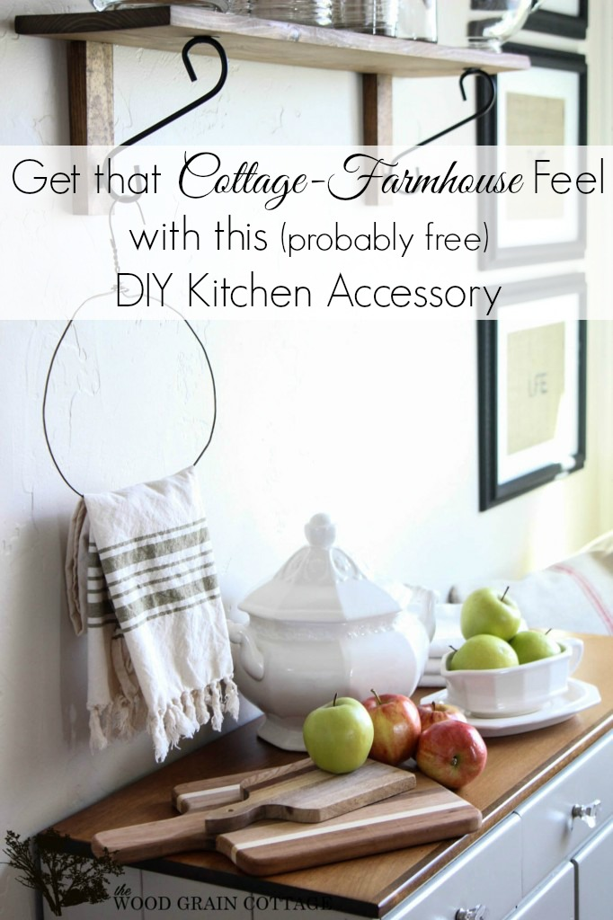 DIY free and easy cottage farmhouse kitchen accessory towel holder