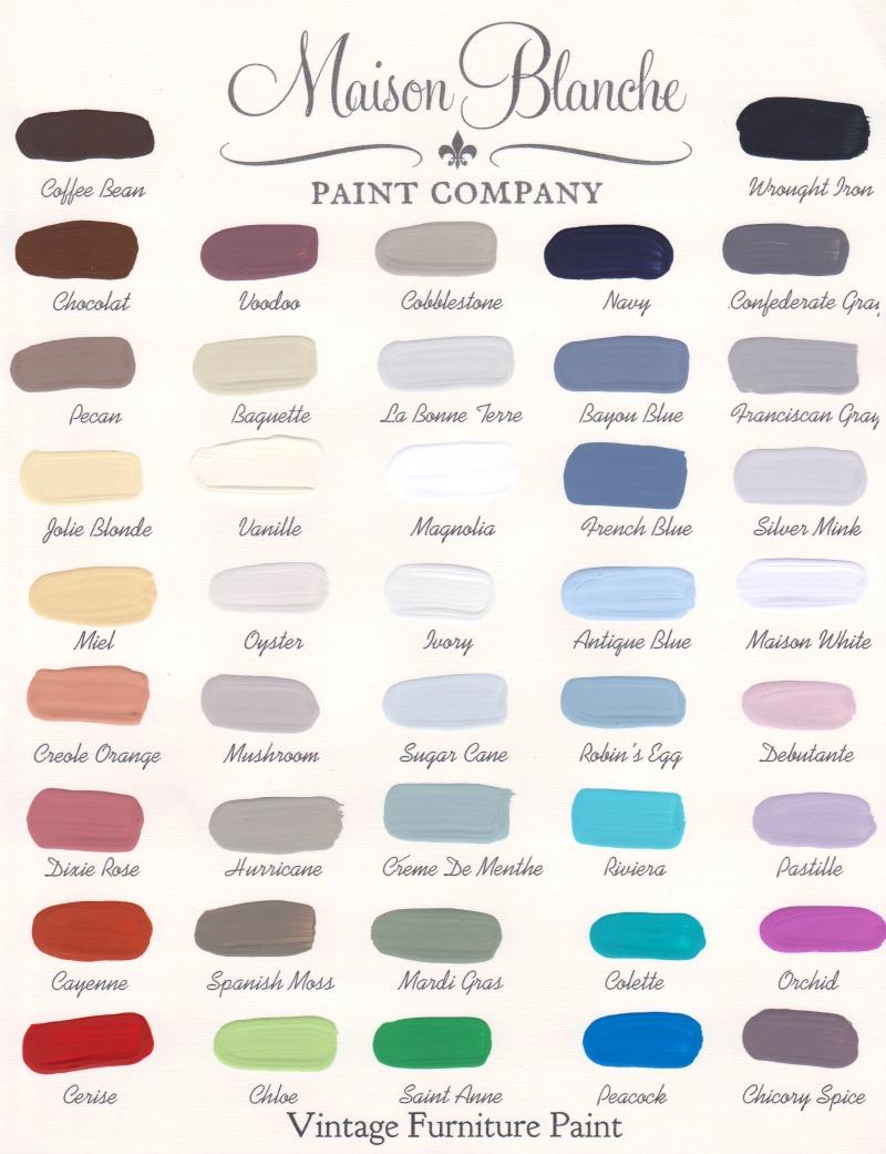 Maison Blanche Paint Company Color Chart | #paint #maisonblanchepaint