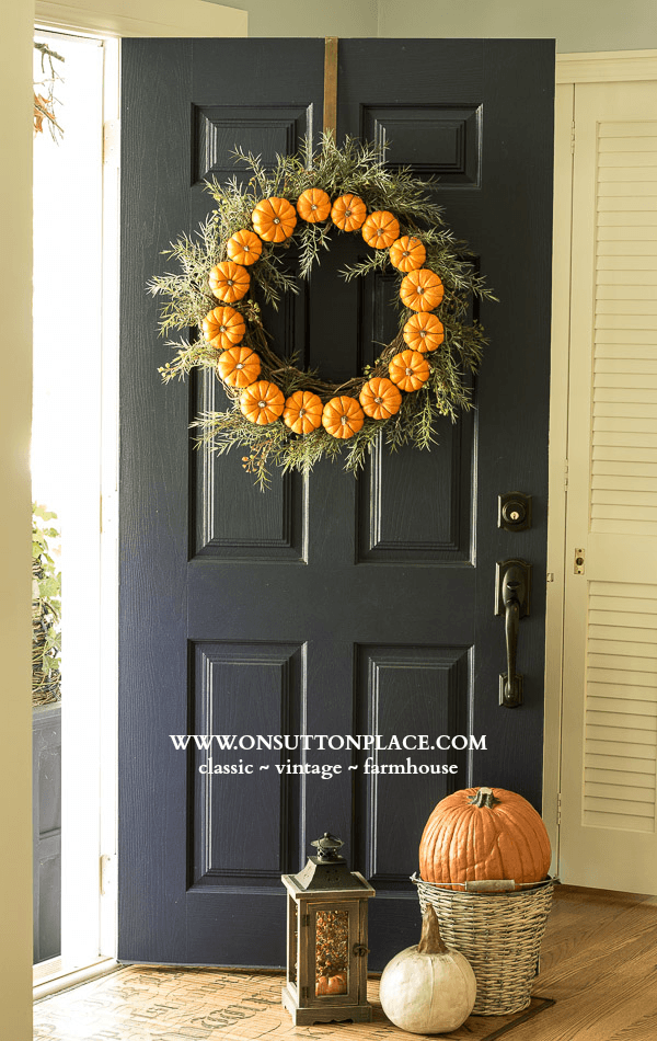 Fall Door and DIY Wreath from On Sutton Place