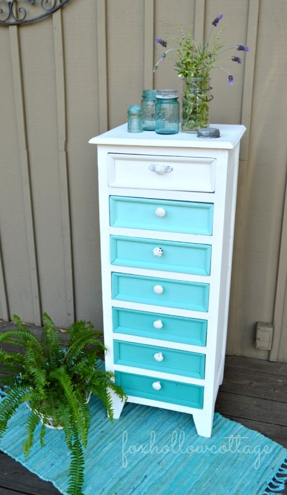 Aqua Ombre Painted Furniture Before and After Makeover