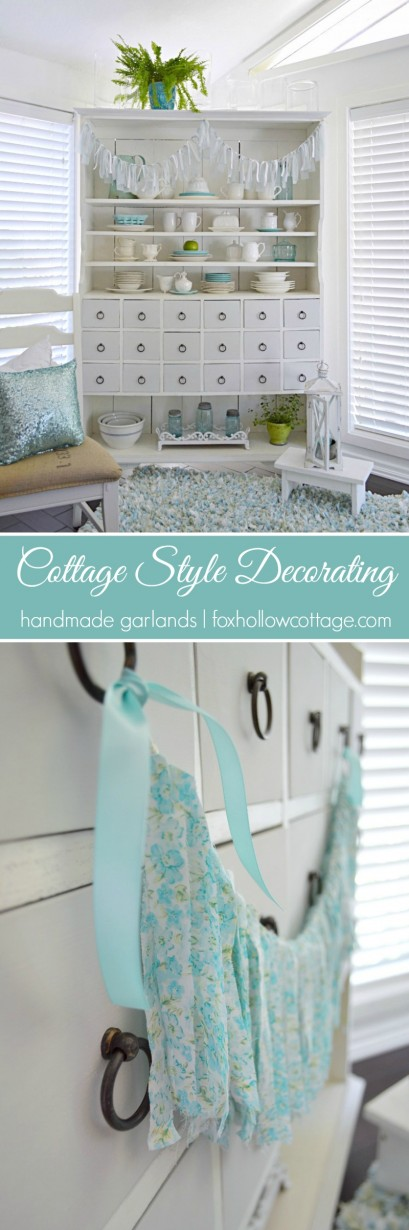 Cottage Style Decorating - handmade garlands - foxhollowcottage