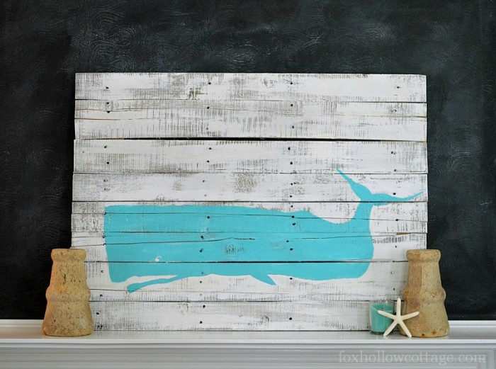DIY Pallet Art Coastal Whale Silhouette - Fox Hollow Cottage