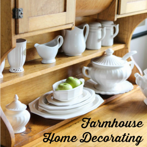Farmhouse Home Decorating Vintage Bakers Cupboard Ironstone