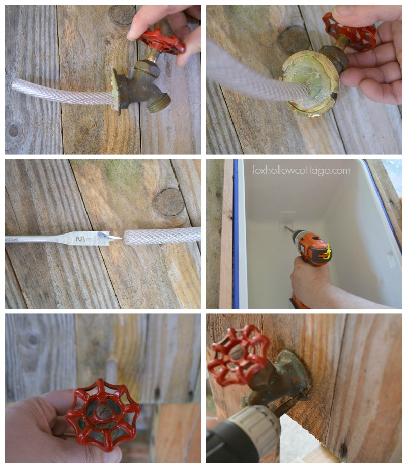 Hose Bib Drainage For Melted Ice - DIY Wood Deck Cooler Tutorial #thehomedepot #3MPartner #ad