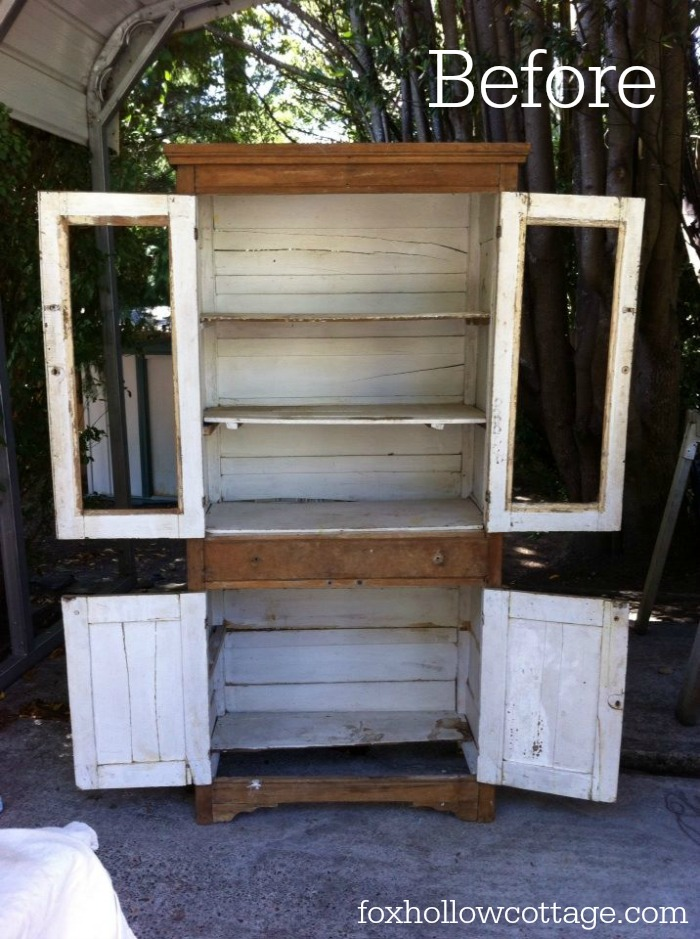 vintage farm cabinet - before