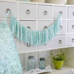 vintage vine diy aqua banner garland bunting decor - fox hollow cottage