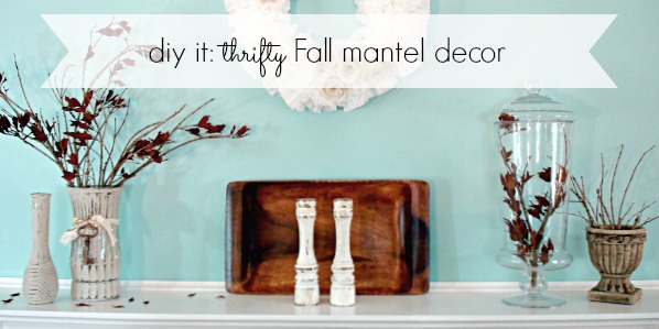 Fall 2012 little bit of fall mantel