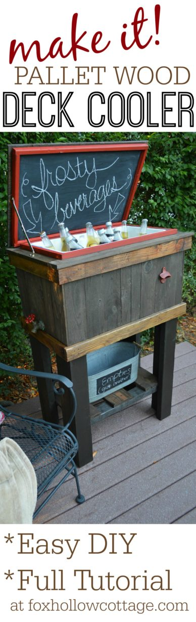How To Build a Wood Cooler . Tutorial by foxhollowcottage | DIY Deck Cooler Makeover Project, Built with Free Pallet Wood. Perfect for Summer BBQ's, Pool, Porch, Patio & Deck Parties. Use Paint & Stain to Add Your Own Style Twist or Team Colors!