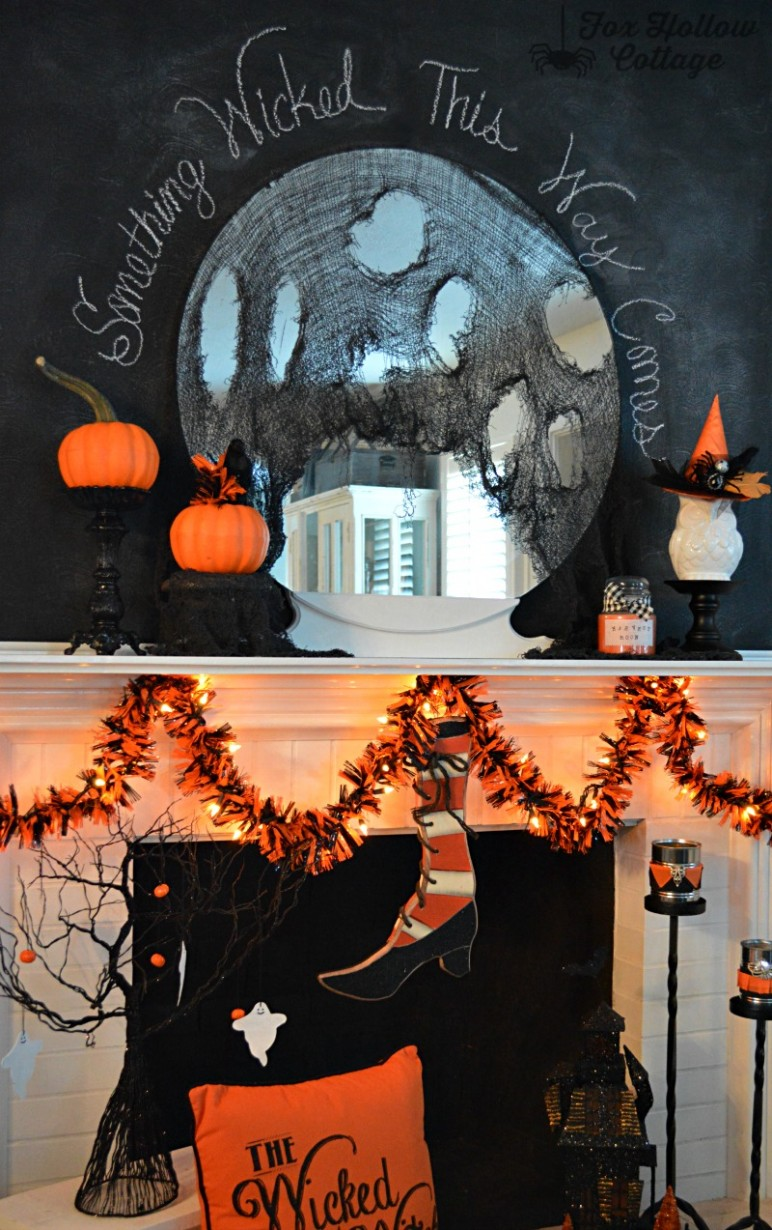 Something Wicked This Way Comes Halloween Mantel - Fox Hollow Cottage