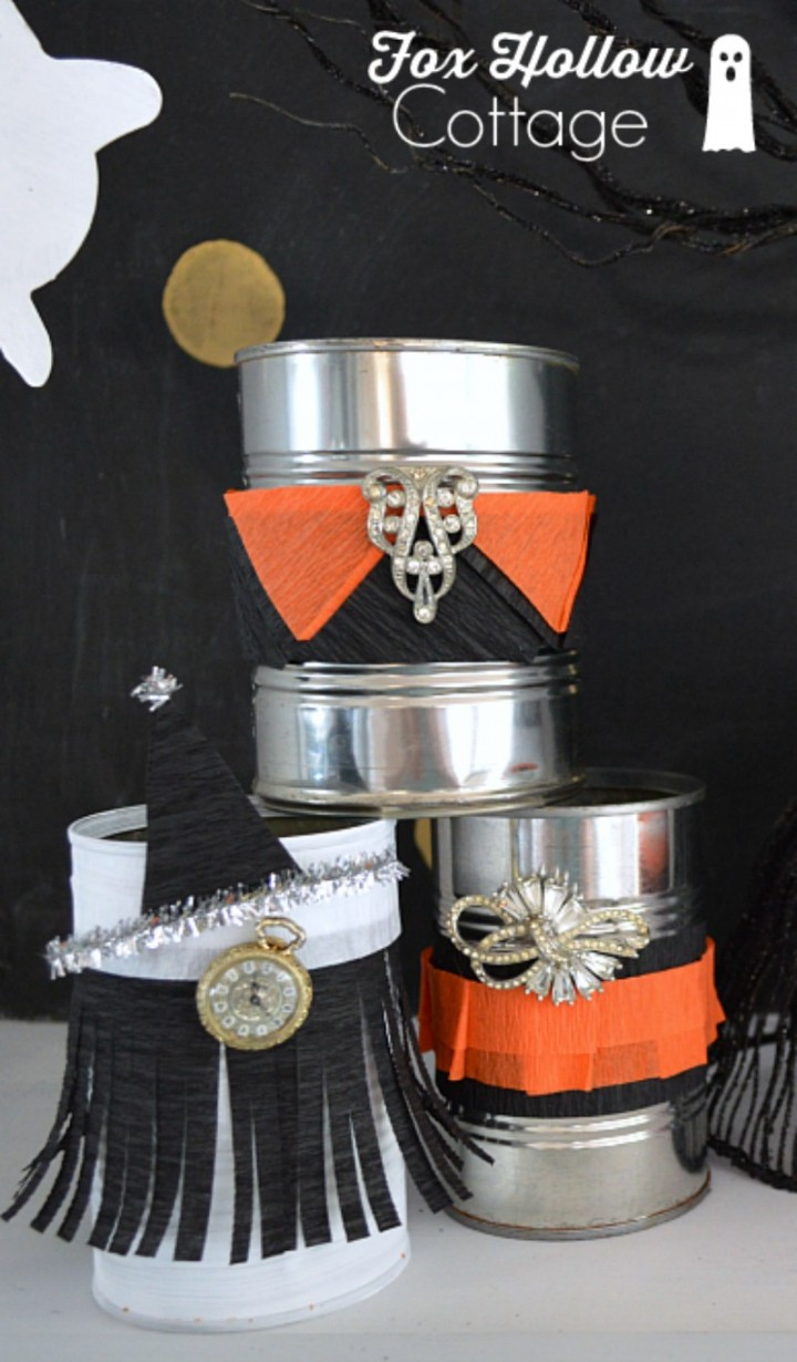 Tin Can Craft - Halloween Home Decor DIY - foxhollowcottage