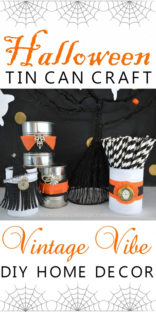 Vintage Vibe DIY Halloween Tin Can Craft foxhollowcottage