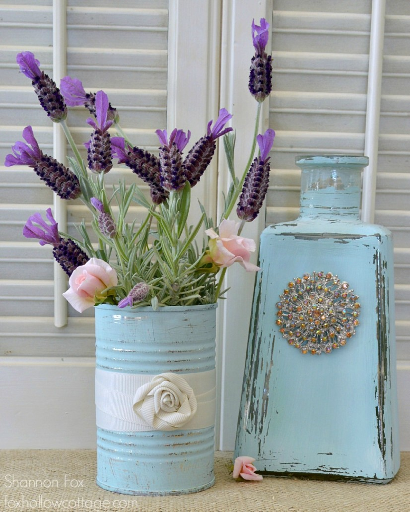 Aqua bottle and tin can painted re purposed into decor foxhollowcottage.com
