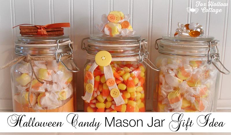 Halloween Candy Mason Jar Gift Idea