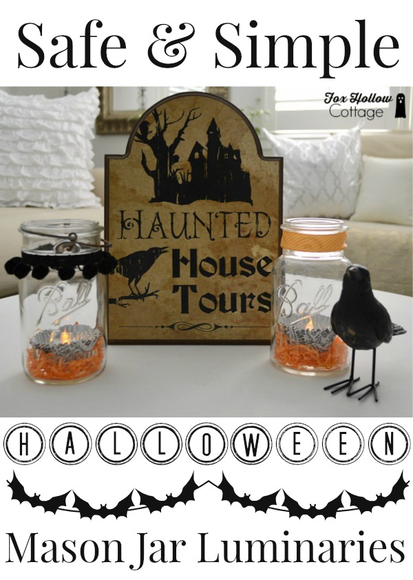 Safe Simple Halloween Mason Jar Luminaries foxhollowcottage