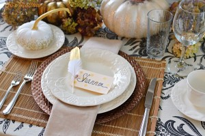 3 DIY Thanksgiving- Place Card Table Setting Tutorial, featuring gold mettalic polka dots at foxhollow cottage