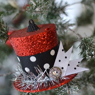 3 Dollar Tree Christmas Ornament Makeover to Vintage Frosty Top Hat foxhollowcottage