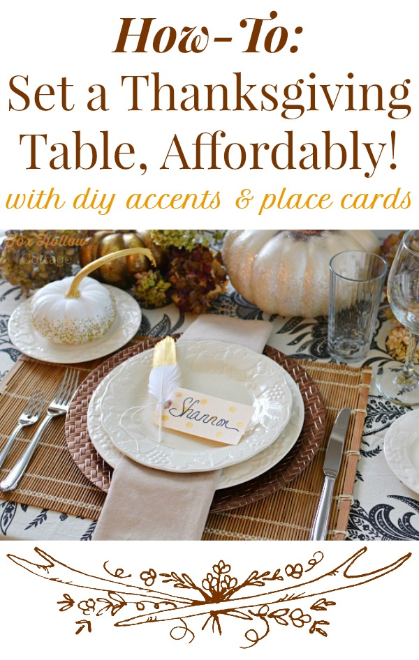 Diy thanksgiving table with gold feather polka dot place for Diy thanksgiving table place cards