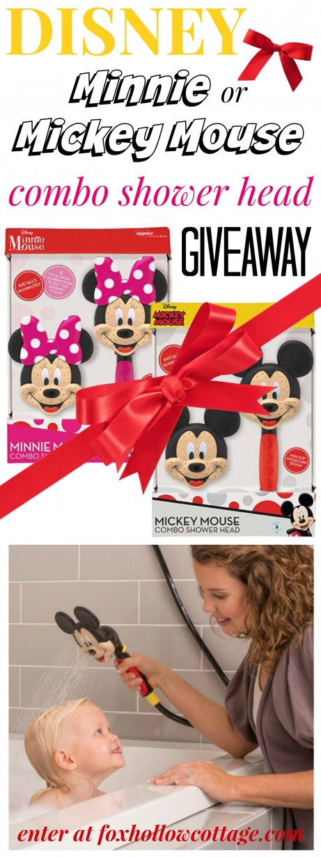 Disney Mickey Minnie Mouse Dual Shower Head Giveaway at foxhollowcottage.com - #Oxygenics #sp #giveaway