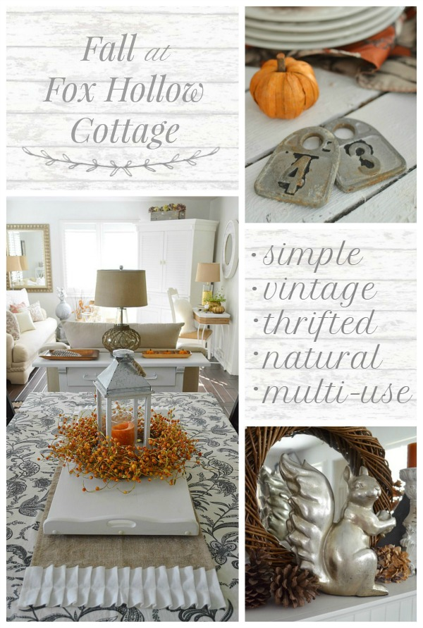 Fall Decorating- simple, vintage, thrifted, natural, multi-use at foxhollowcottage