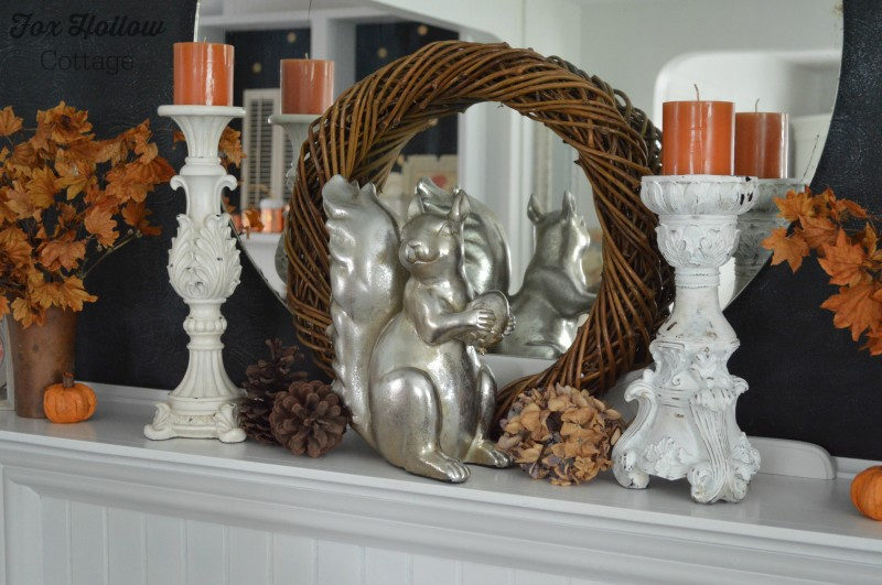 Simple Fall Mantel with Autumn Colors and Metallic Squirrel