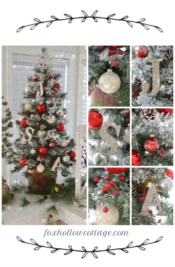 Christmas Home Tour - red white and vintage flocked tree - foxhollowcottage