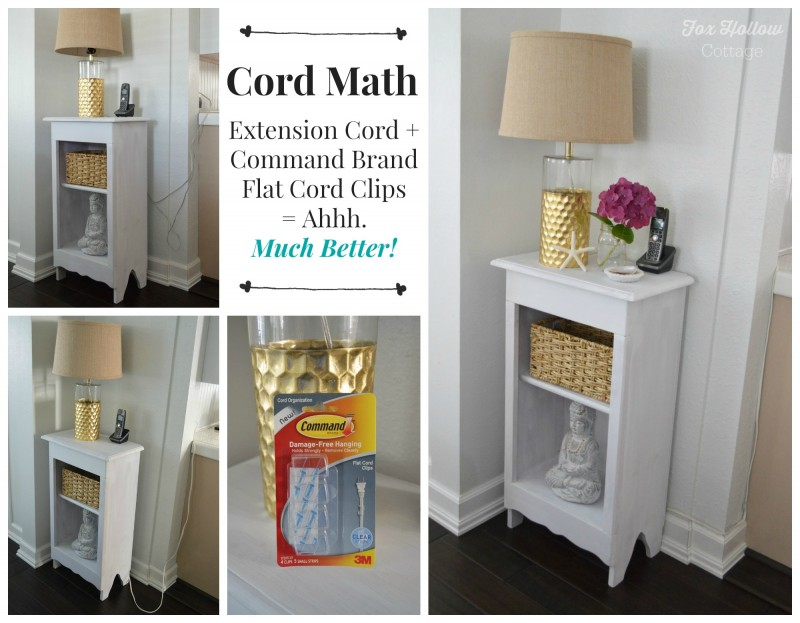 Command Brand Flat Cord Clips Organizing Clutter Fix - foxhollowcottage.com #DamageFreeDIY #sp #organize