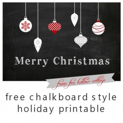 Merry Christmas Chalkboard Printable – with floating ornaments