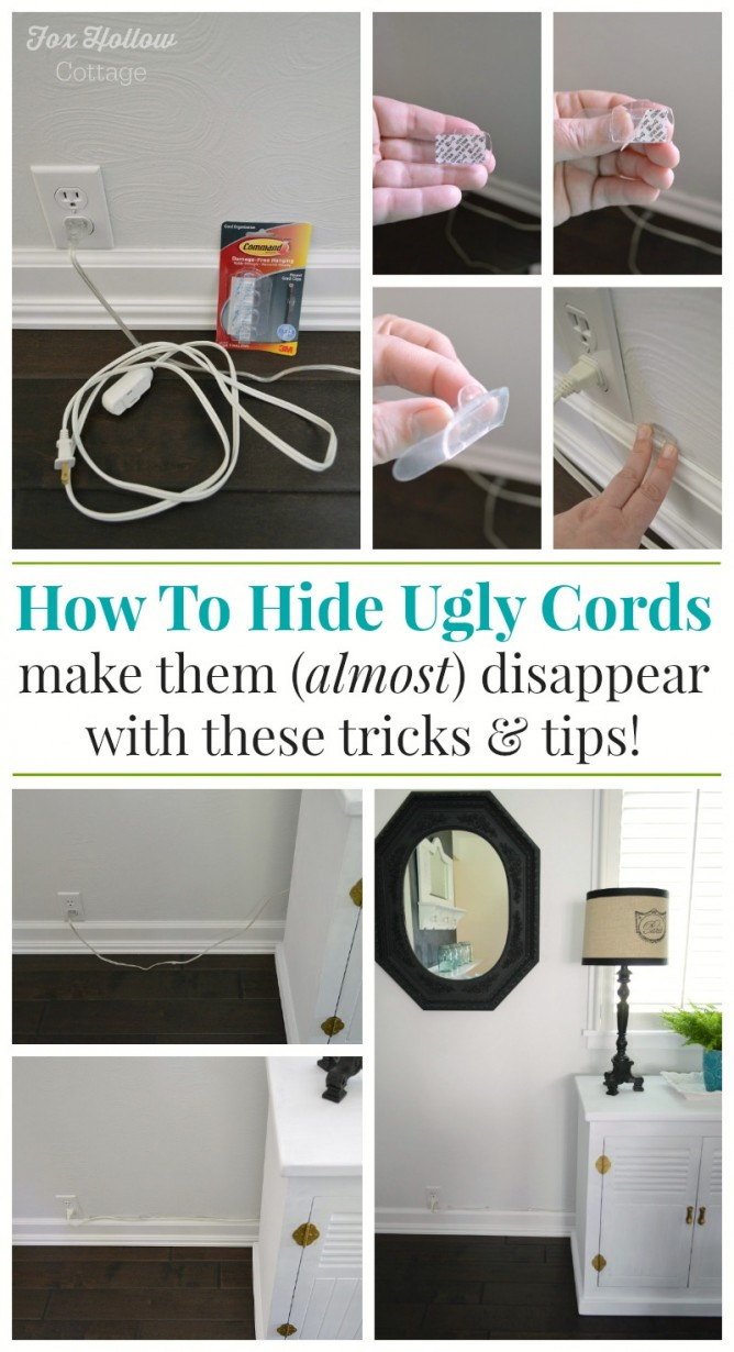 How to hide and organize unsightly cords fox hollow cottage for How to hide electrical cords on wall