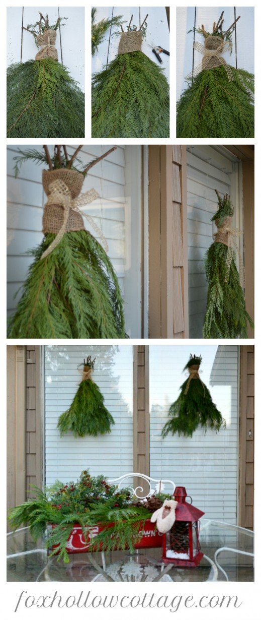 diy fresh greenery christmas swags - Outdoor Porch Christmas Decorations