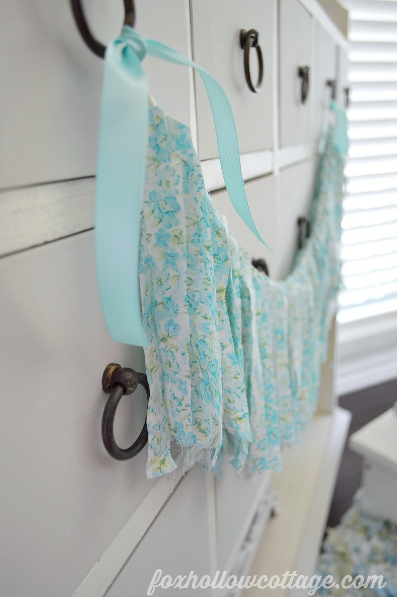 Aqua Floral Fabric Rag Garland - Fox Hollow Cottage