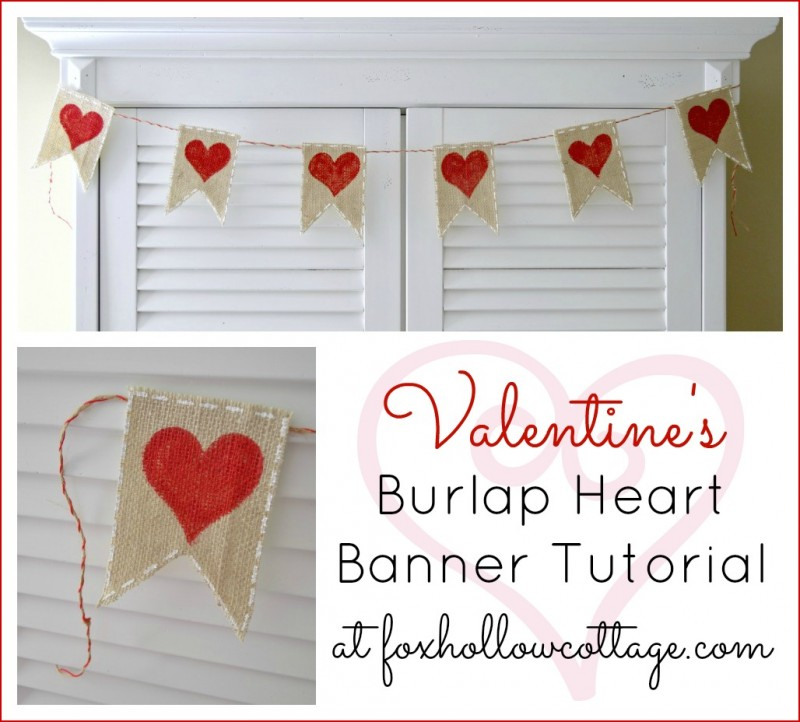 Make a DIY Valeninte's Day Burlap Banner Bunting Craft Tutorial 2