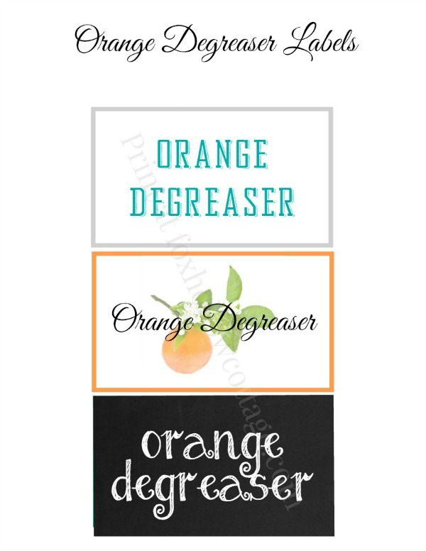 Orane Degreaser Label - print free at foxhollowcottage