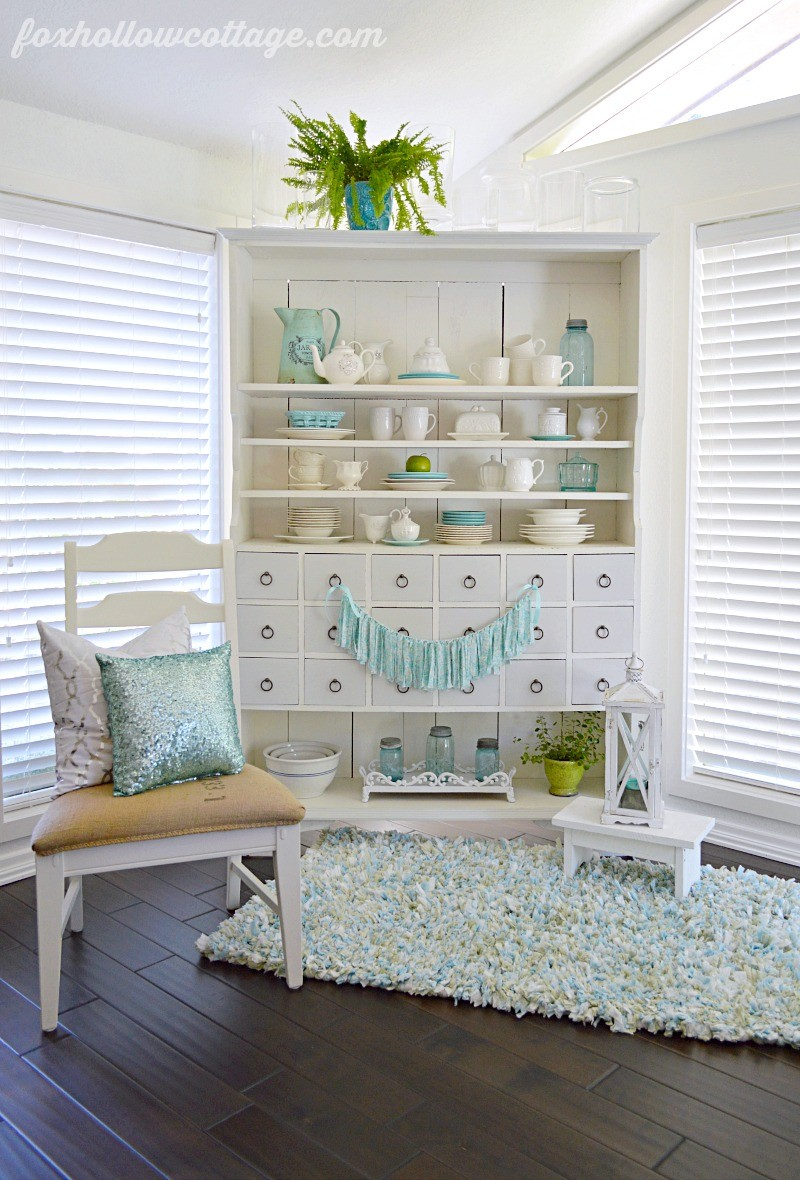 wm  Summer Sun Room - Apothecary Cabinet - DIY Rag Garland - Fox Hollow Cottage