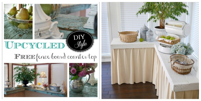 Aqua to White Cottage Farmhouse Reclaimed Wood Countertop Makeover