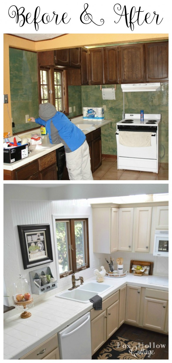 Before and After - diy cottage kitchen makeover - foxhollowcottage