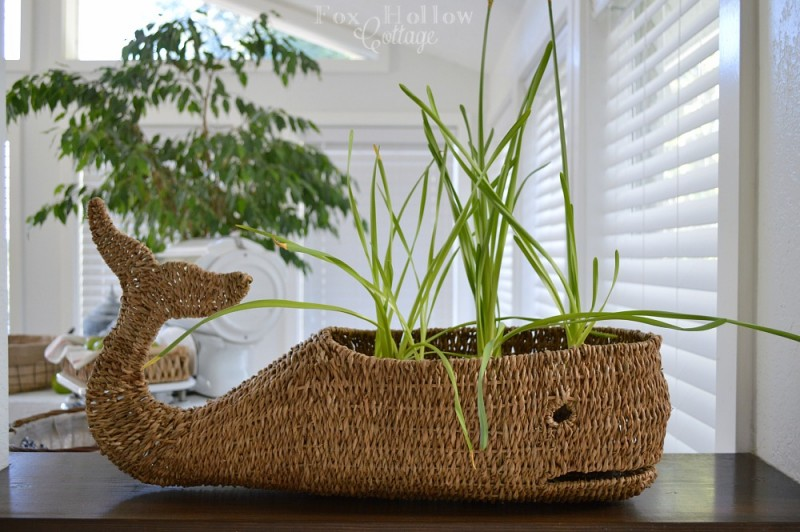 Moby II wicker whale storage basket
