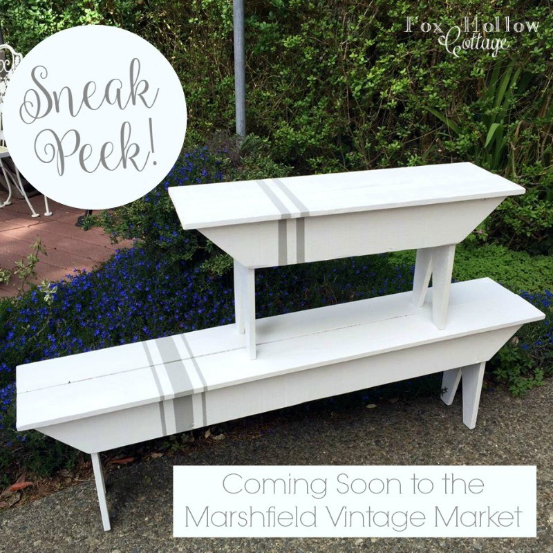 6 Marshfield Vintage Market - foxhollowcottage.com - Vintage grain sack French Farmhouse bench