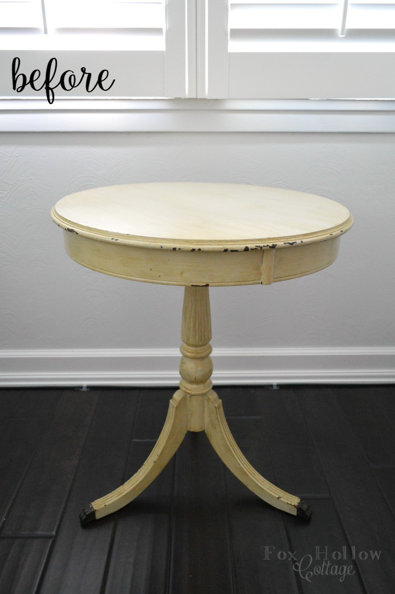 Before- Drum Table painted Furniture Makeover - foxhollowcottage