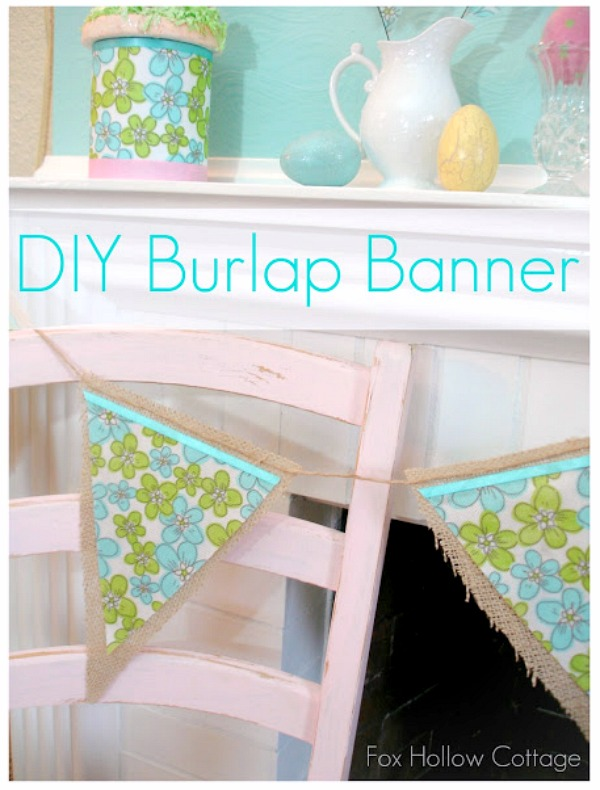 DIY BURLAP BANNER Shabby Pink Chair Bunting Banner Easter -
