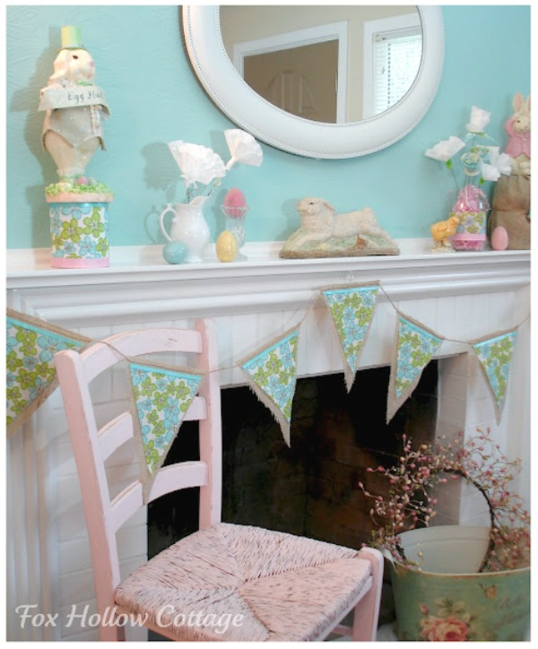 Easter Mantel DIY decorating ideas - foxhollowcottage