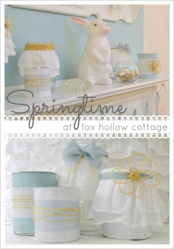 Spring Easter Mantel Romatic Shabby Aqua Decorating .