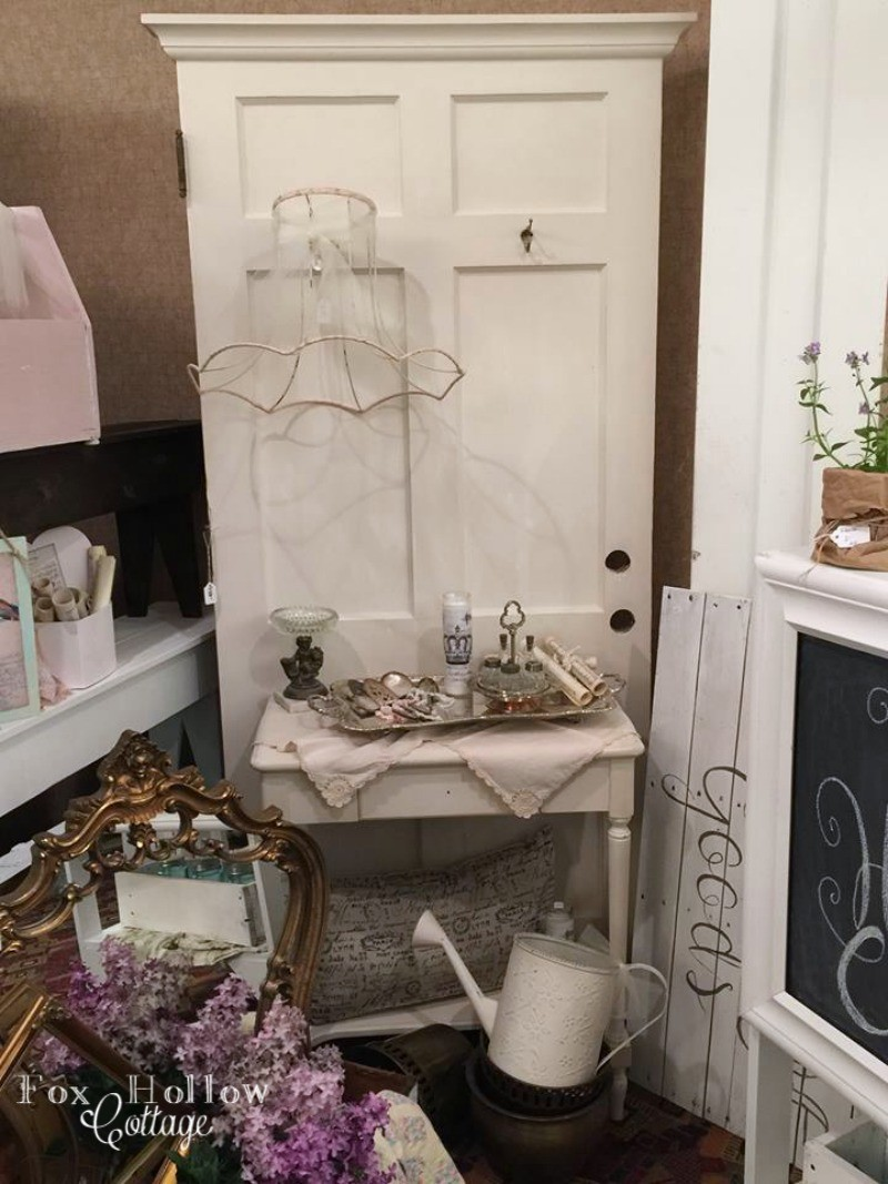 Vintage Door Repurposed into a Entryway Mudroom Coat Rack - foxhollowcottage.com