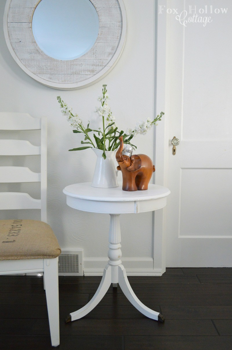 five dollar find - before and after table makeover - foxhollowcottage