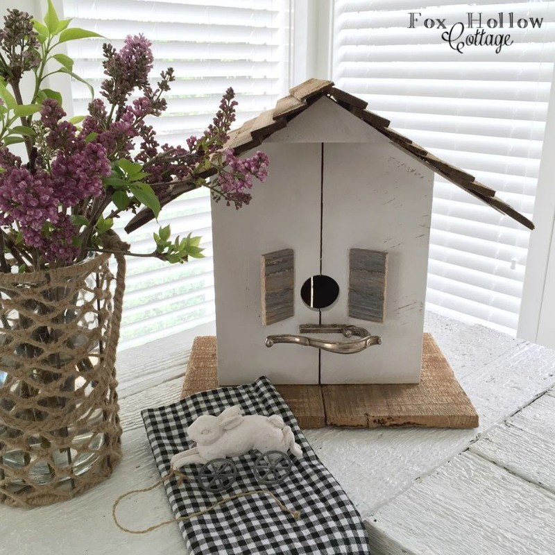foxhollowcottage - salvaged and repurposed diy wood birdhouse with silver teapot handle perch