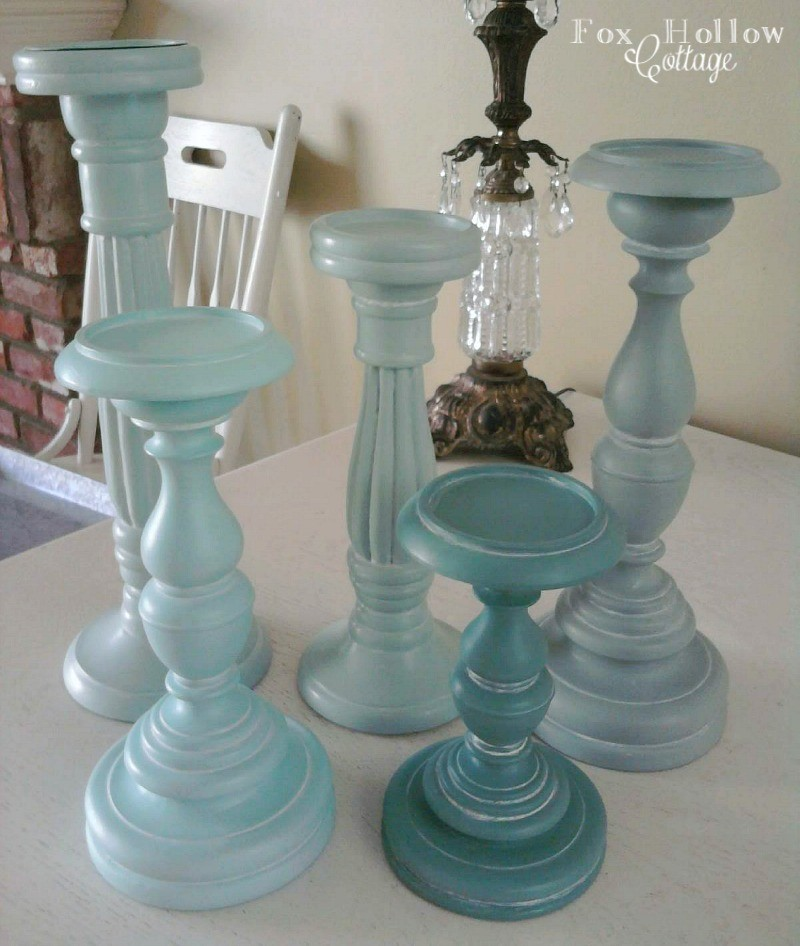 Aqua Blues Painted Candle Stick Home Decor