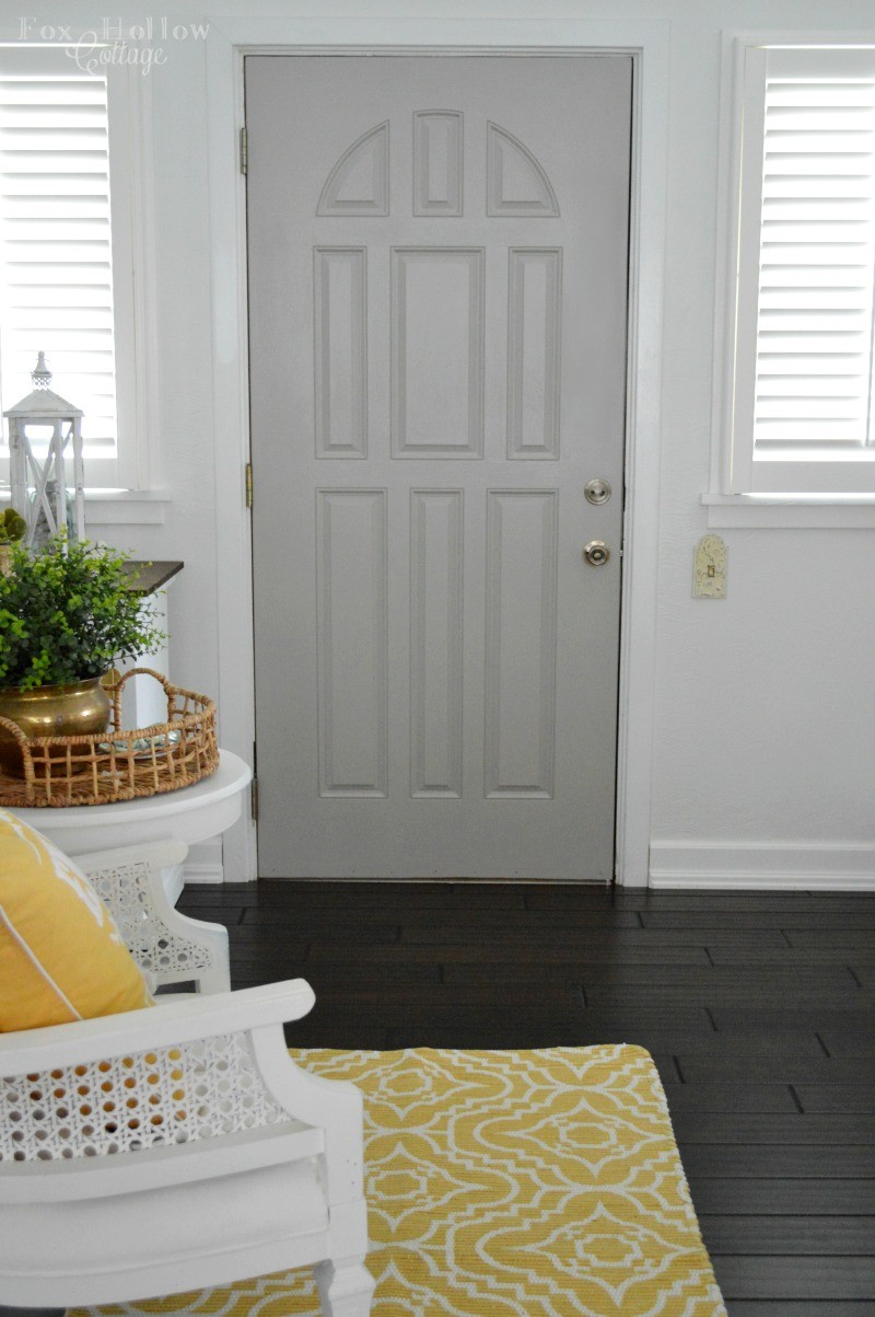 How-to paint a door quickly and easily! My new grey door at foxhollowcottage.com - Plus! how to try a paint color without paiting or buying paint samples