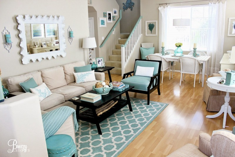 Beach chic coastal cottage home tour with breezy design for Beach decor living room