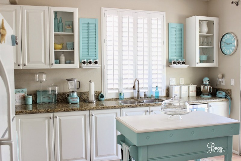 Aqua White DIY Coastal Cottage Kitchen