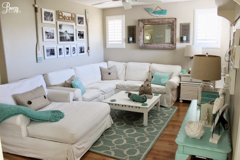 Living Family Cottage Great Room - Beach Chic Meets Casual Coastal by Breezy Design at foxhollowcottage.com