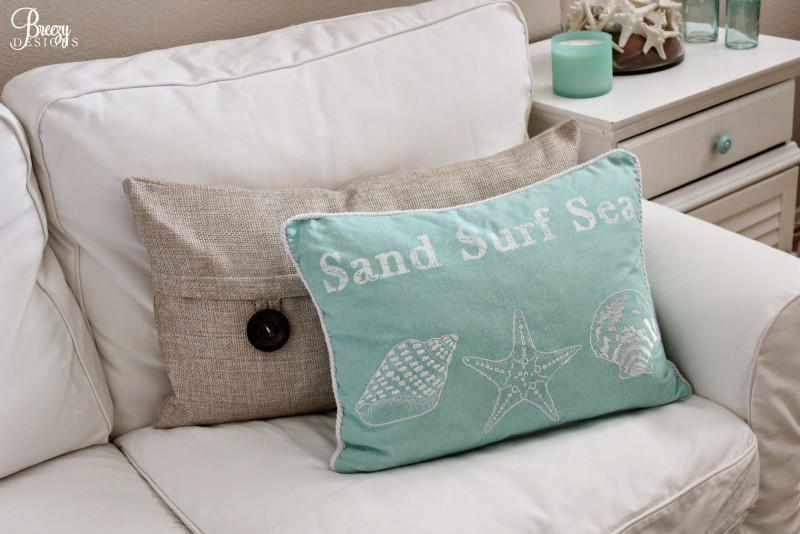 Sand Surf Sea Pillow Coastal Cottage Home Decorating